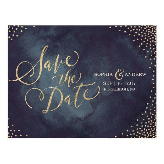Modern glam gold glitter calligraphy save the date Cards