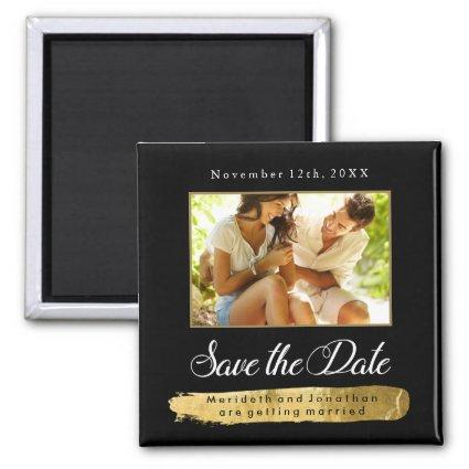 Modern Gold and Black Save the Date Magnets