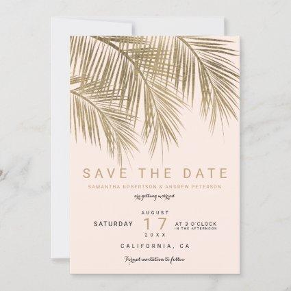 Modern gold blush palm tree elegant save the date