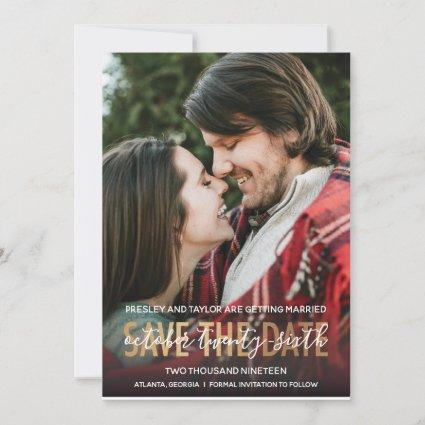 Modern GOLD Bold Lettering | Photo Save the Date