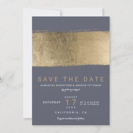 Modern gold brushstroke dusty blue save the date