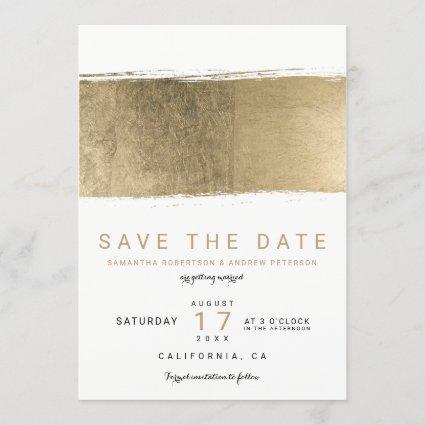 Modern gold brushstroke elegant save the date