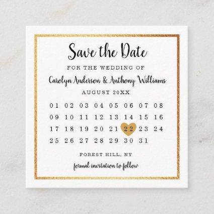 Modern Gold Foil Calendar Save The Date Enclosure Card