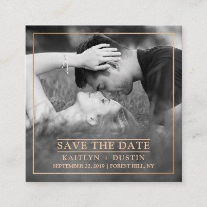 Modern Gold Foil Photo Save The Date Enclosure Card