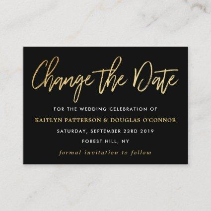 Modern Gold Foil Script Change The Date Enclosure Card