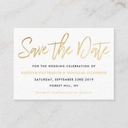 Modern Gold Foil Script Save The Date Enclosure Card