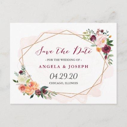 Modern Gold Frame Watercolor Floral Save the Date Announcement
