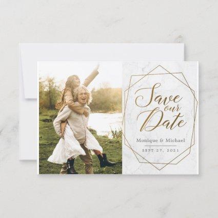 Modern Gold Geometric Art Deco Marble Wedding Save The Date