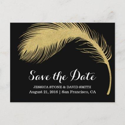 Modern Gold Glitter Feather Wedding Save the Date Announcement