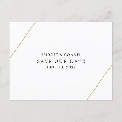 Modern Gold Lines Minimalist Save the Date Announcement