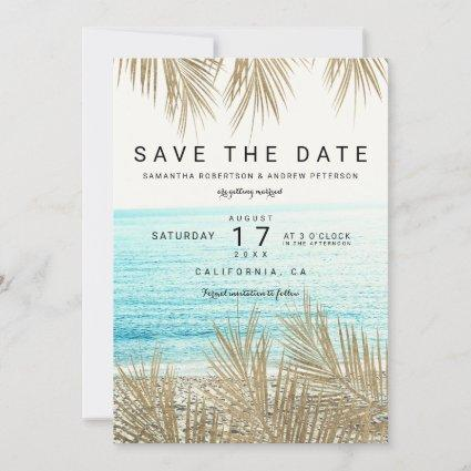 Modern gold palm tree beach photo save the date