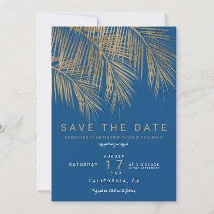 Modern gold palm tree blue save the date