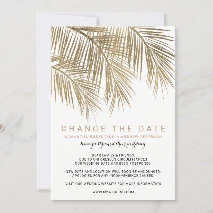 Modern gold palm tree elegant change the date save the date