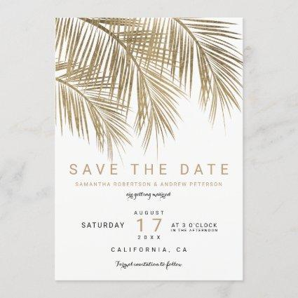 Modern gold palm tree elegant save the date