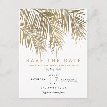Modern gold palm tree elegant save the date Announcements Cards