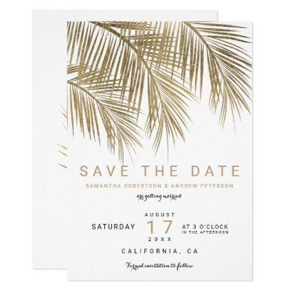 Modern gold palm tree elegant save the date invitation