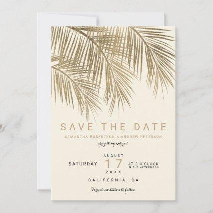 Modern gold palm tree ivory save the date