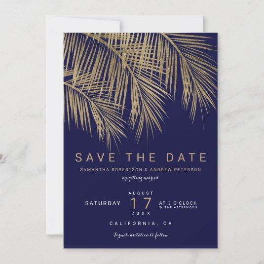 Modern gold palm tree navy save the date