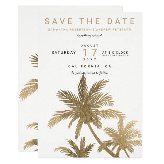Modern gold palm trees elegant save the date card