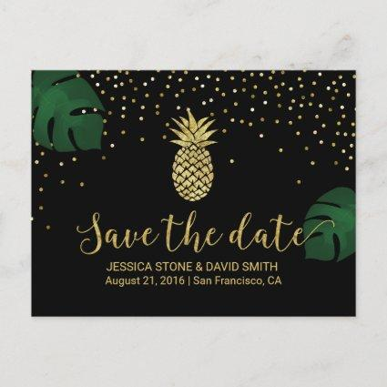 Modern Gold Pineapple Tropical Save the Date Announcement