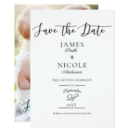 Modern Gold Script Type Full Photo Save the Date Invitation