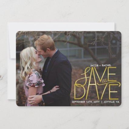 Modern Gold Wedding Save the Date