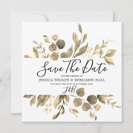 Modern Golden Garden Leaves Wedding Save The Date