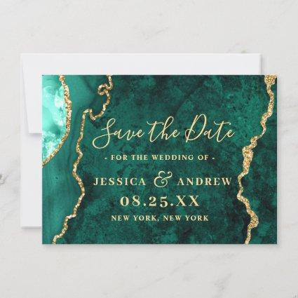Modern Golden Green Agate Marble Wedding Save The Date