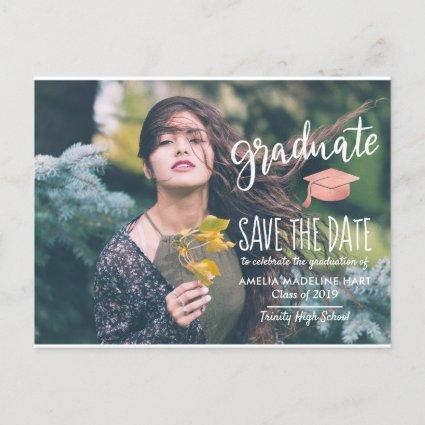 Modern Graduate Hat | Save The Date Photo Announcements Cards