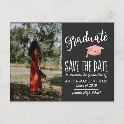 Modern Graduate Hat Save The Date Photo Gray Announcements Cards