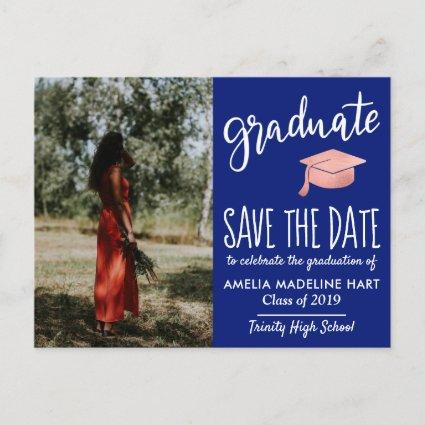 Modern Graduate Hat Save The Date Photo Navy Blue Announcements Cards