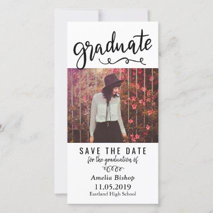 Modern Graduate Photo | Typography Save The Date