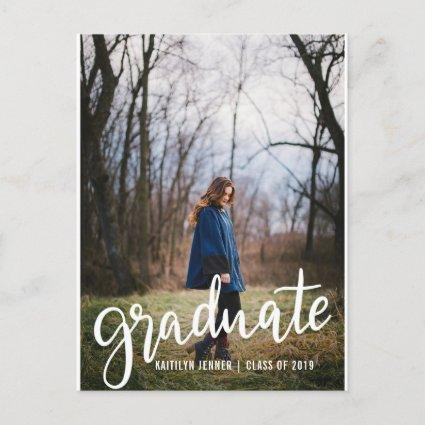 Modern Graduate Script | Save The Date Photo Announcement