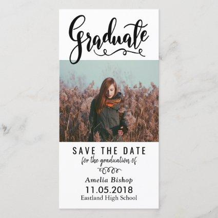 Modern Graduate Typography Save The Date