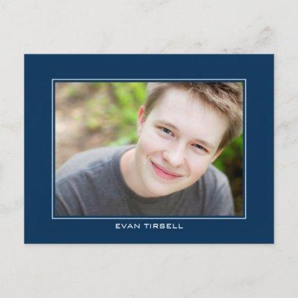 Modern Graduation Photo Announcements - Navy Blue