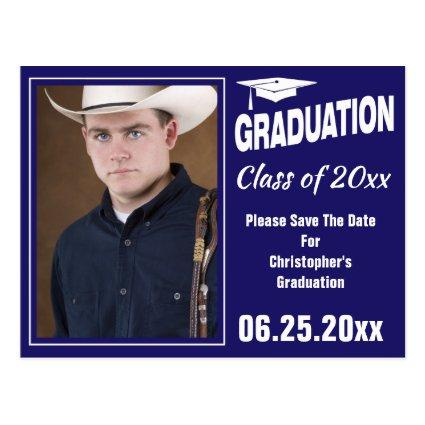 Modern Graduation Photo Save The Date Party Blue