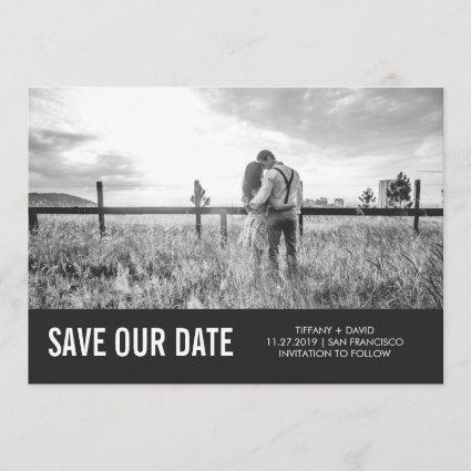 Modern Gray Save the Date with Photo