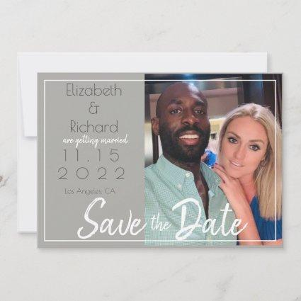 Modern Gray White Brush Script Photo Save the Date