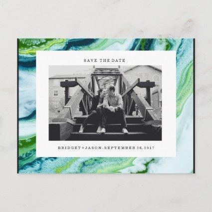 Modern Green Blue marble Photo  SAVE THE DATE Announcement
