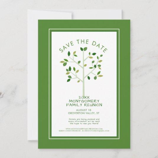 Modern Green Family Reunion Tree Save The Date