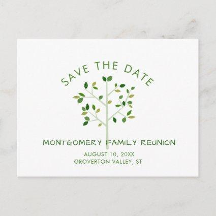 Modern Green Family Reunion Tree SAVE THE DATE Invitation