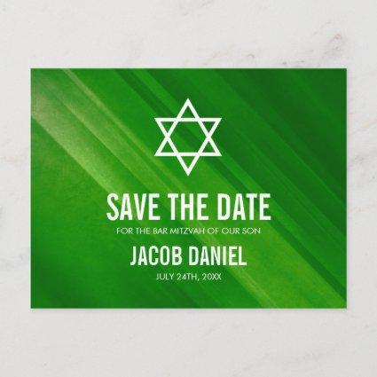 Modern Green Grunge Bar Mitzvah Save the Date Announcement