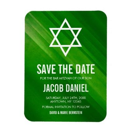 Modern Green Grunge Bar Mitzvah Save the Date Magnet