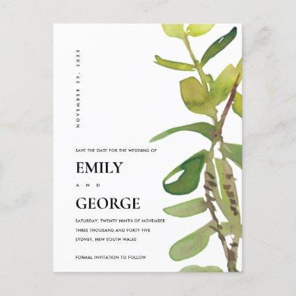 MODERN GREEN LEAFY FOLIAGE GREENERY SAVE THE DATE ANNOUNCEMENT