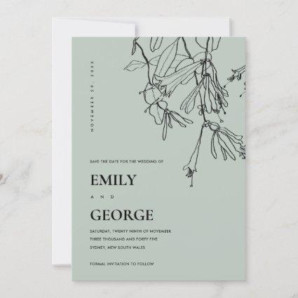 MODERN GREY LINE DRAWING FLORAL SAVE THE DATE CARD