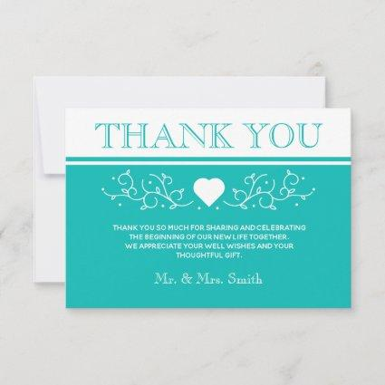 Modern Heart Wedding Thank You Photo Save The Date