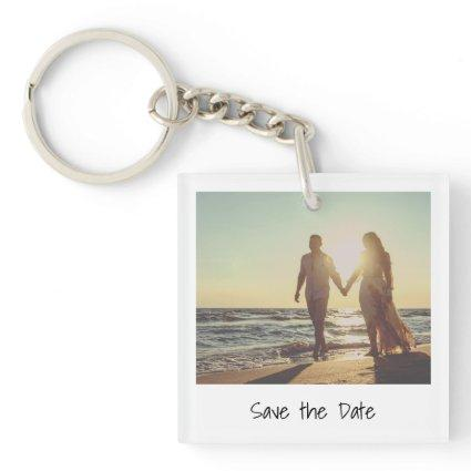 Modern Instant Photo Save the Date Keychain