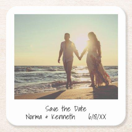 Modern Instant Photo Save the Date Square Paper Coaster