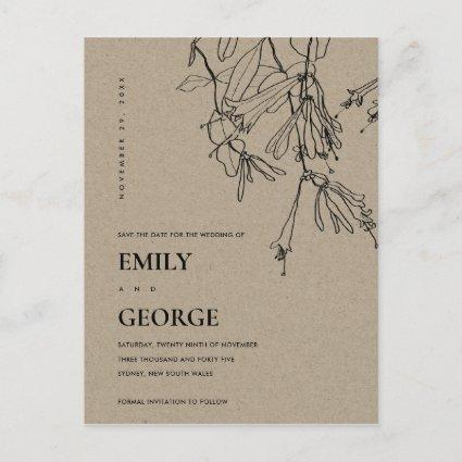 MODERN KRAFT LINE DRAWING FLORAL SAVE THE DATE ANNOUNCEMENT