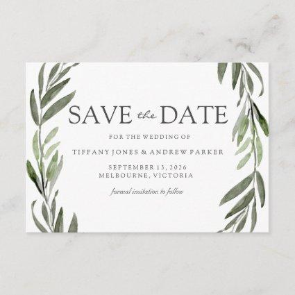 Modern Leaf Wreath Save The Date Invite